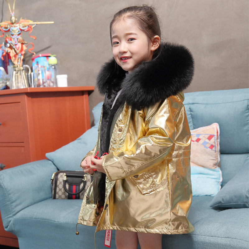 Boy girl rabbit fur lining coat child fox fur big fur collar coat winter intensive warm jacket child fur collar coat with cap