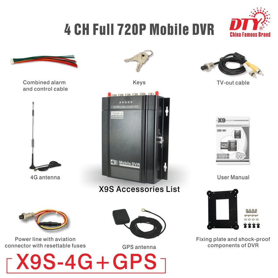720p HD Car Taxi Vehicle HDD GPS DVR, Video Recorder 4 channel mobile mdvr mobil dvr, X9s-4G