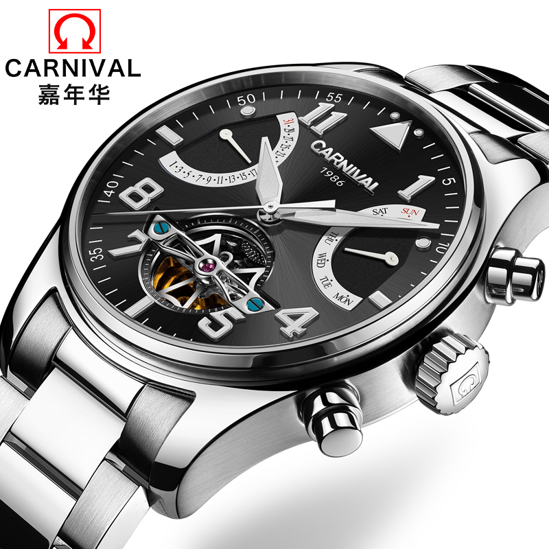 Switzerland Carnival Brand Luxury Mens Watches Multi-function Watch Men Sapphire reloj hombre Luminous relogio Clock C8783-2 wrist switzerland automatic mechanical men watch waterproof mens watches top brand luxury sapphire military reloj hombre b6036