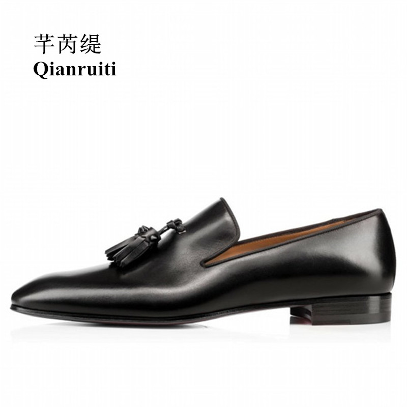 Qianruiti Men Split Leather Tassel Shoes Matte Black Fringe Oxfords Business Wedding Flat Handmade Men Dress Shoes EU39-EU46 qianruiti men alligator gold loafers metal toe business wedding oxfords high quality lace up slippers men dress shoe eu39 eu46