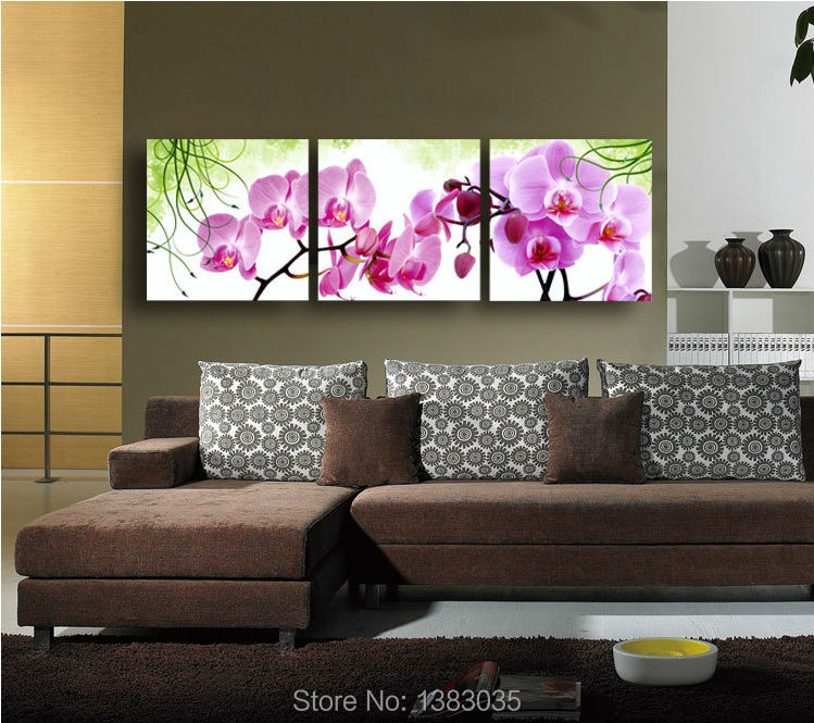 Purple Flower Oil Painting Abstract Wall Art Picture: Hand Painted Wall Art Flower Pink Orchid Wall Decor Oil