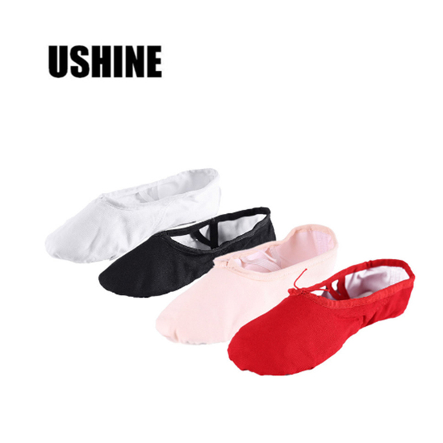 USHINE Yoga Slippers Gym Teacher Yoga Ballet Dance Shoes For Girls Women Ballet Shoes Canvas Kids Children