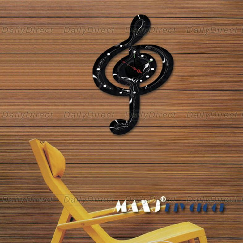 1x Wholesale Large Musical Note DIY Home Decor Frameless Wall Clock Vinyl Sticker Decal 10A015 MAX3 Brand Room Decors