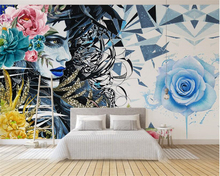beibehang European fashion personality 3d wallpaper hand-painted bright beautiful feather flowers background wall murals tapety