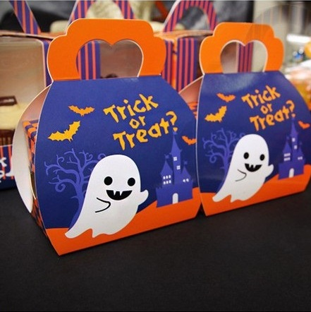 new 9*9*6cm 10pcs Halloween candy Trick or Treat Paper Box Cookie Container snacks packing Storage Boxes sending children Use