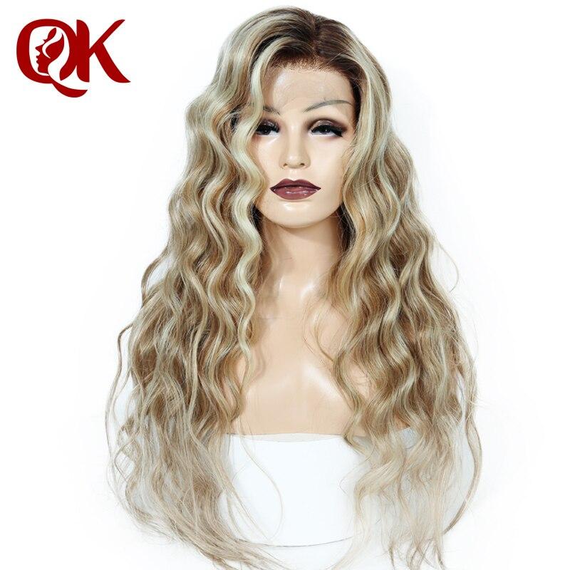 Lemi QueenKing cabelo Peruca Cheia Do Laço 150% Densidade Cor Balayage Ombre Perucas T4/27/613 cabelo Remy Brasileiro frete Grátis Durante A Noite