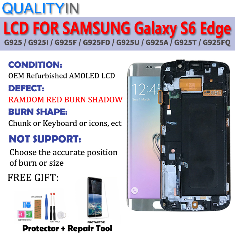 For Samsung Galaxy S6 Edge G925 G925F Touch Screen Digitizer Sensor + Red Burn-Shadow LCD Display Monitor Panel Module Assembly