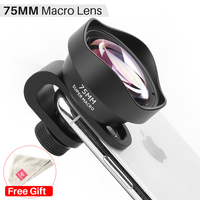 울란지 75mm 매크로 렌즈  iPhone 7/8/X/XS MAX/11 Pro Max 용 삼성 S8/S9/S10/Note 10 Plus 화웨이 P30/Mate30 범용 전화 렌즈