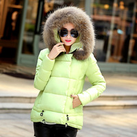 Winter Short Cotton Padded Down Jacket Women Casual Warm A Line Faux Fur Hooded Thicken Loose