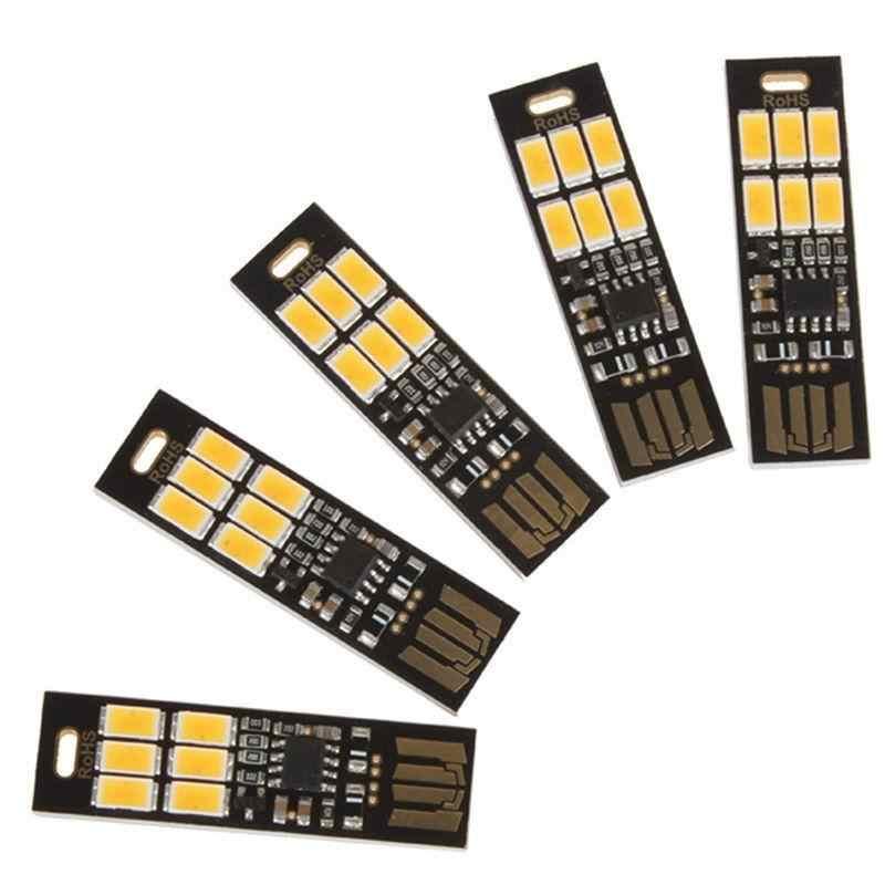 USB мощность 6 светодиодный бисер ночник сенсорный контроль затемнения белый желтый свет мини лампа