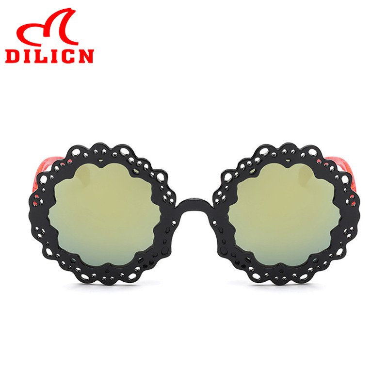 723ef9be53 DILICN Cheap Flower Kids Sunglasses UV400 Protection Party Favors Black Sun  Glasses Boys Girls Mirror Round Frame Baby Eyewear-in Sunglasses from  Mother ...