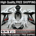 8Gift+ For SUZUKI GSXR600 11 12 13 14 GSX-R750 Black white 8JK518 GSXR 600 750 K11 11-14 2011 2012 2013 2014 NEW Black Fairing