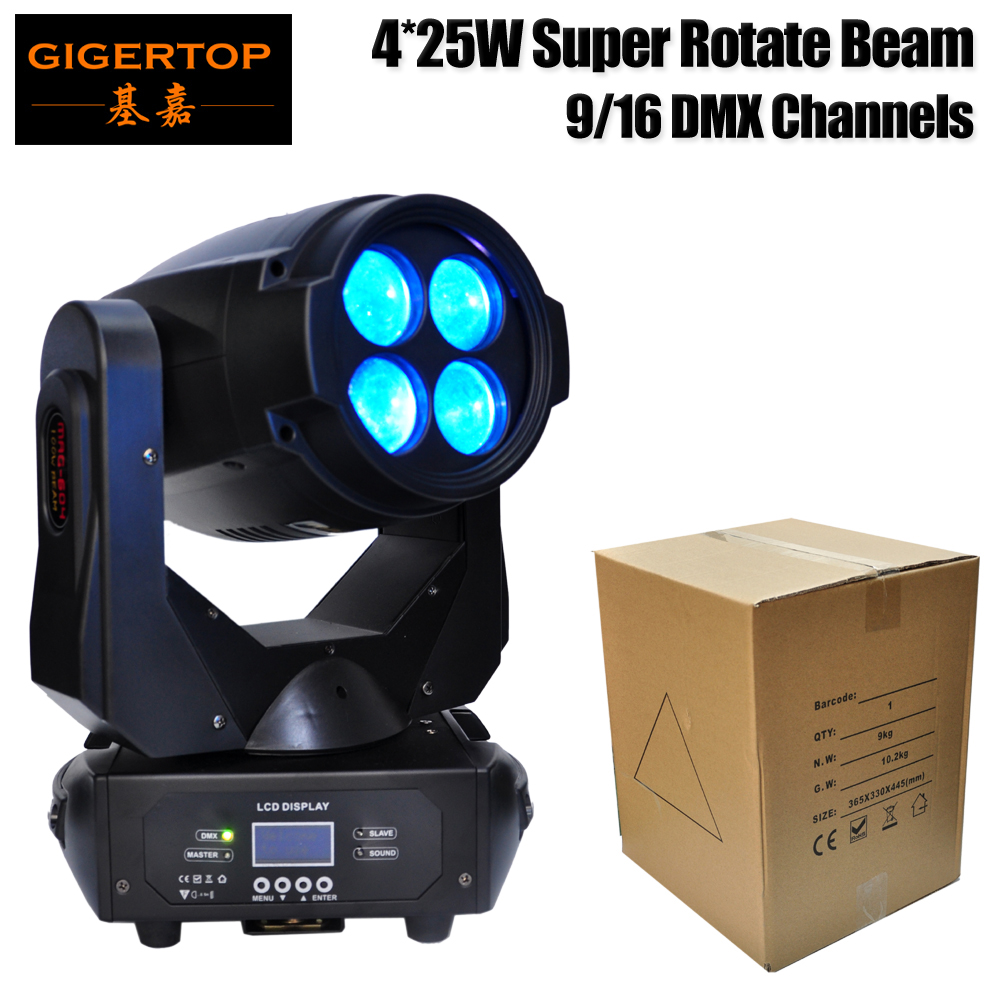 Gigertop TP-L679 Super Beam 4*25W Led Moving Head Light ERA Stage Lighting Color Wheel Yellow/Purple/Blue Filter Fast/Smooth xr e2530sa color wheel 5 color beam splitter used disassemble