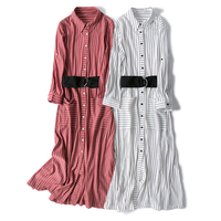 Vertical Striped Shirt Dresses Women Fashion British style Dress Turn down Collar Long Sleeve Single Breasted Dress S/M/L