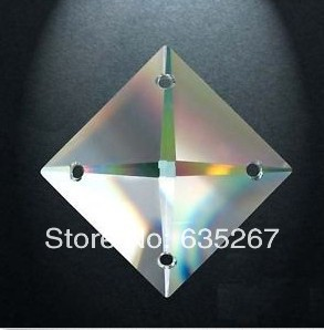 480PCS lot 22MM SQUARE glass beads in 4 holes FREESHIPPING CRYSTAL PRISM OF CHANDELIER