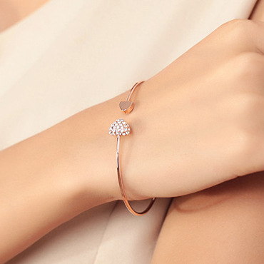 2018 Hot New Fashion Justerbar Crystal Double Heart Bow Bilezik - Mode smykker - Foto 5