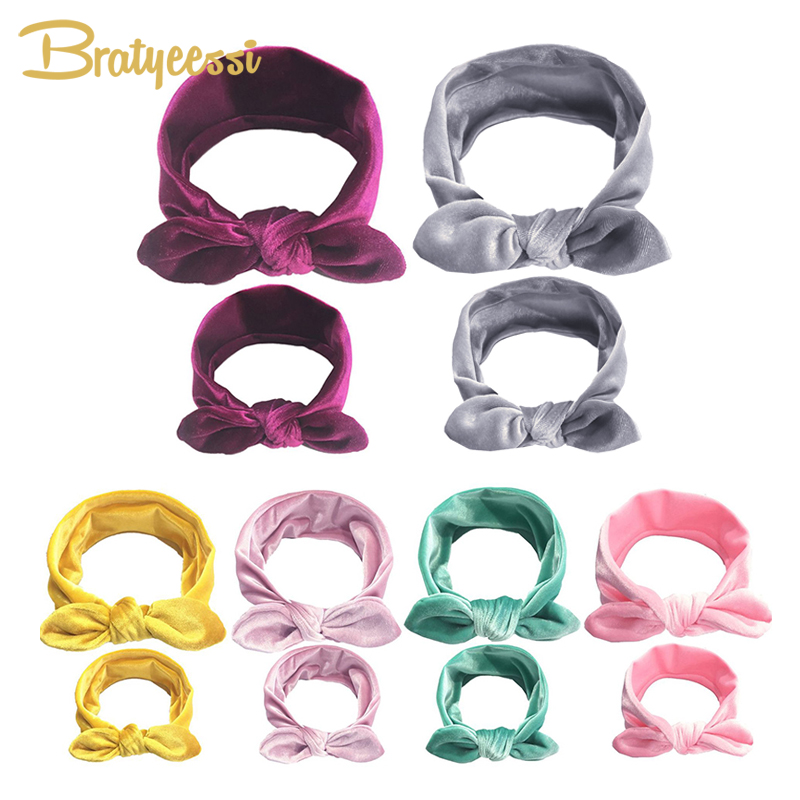 1 Set Mom Baby Headband Knot Elastic Turban Baby Hair Accessories Infant Girl Headbands Baby and Mother Headwrap 2PCS Head Bands