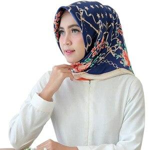 Элегантный квадратный платок с принтом для женщин, мусульманская шаль, хиджаб, мусульманская одежда, головной убор, тюрбан для молитвы, 90*90 с...