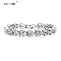 High Quality Clear Swiss AAA CZ Paved Wedding Jewelry Bracelet Elegant