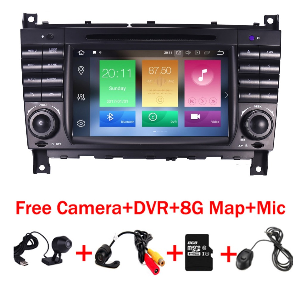 цена на Android 8.0 Car DVD for Mercedes Benz C Class W203 2004-2007 c200 C230 C240 C320 C350 CLK W209 2005 Sat Navi GPS Radio WiFi 4/3G