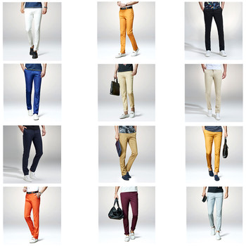 Brand Casual Men Pants Classic Fashion Slim Fit Dress Flat 4