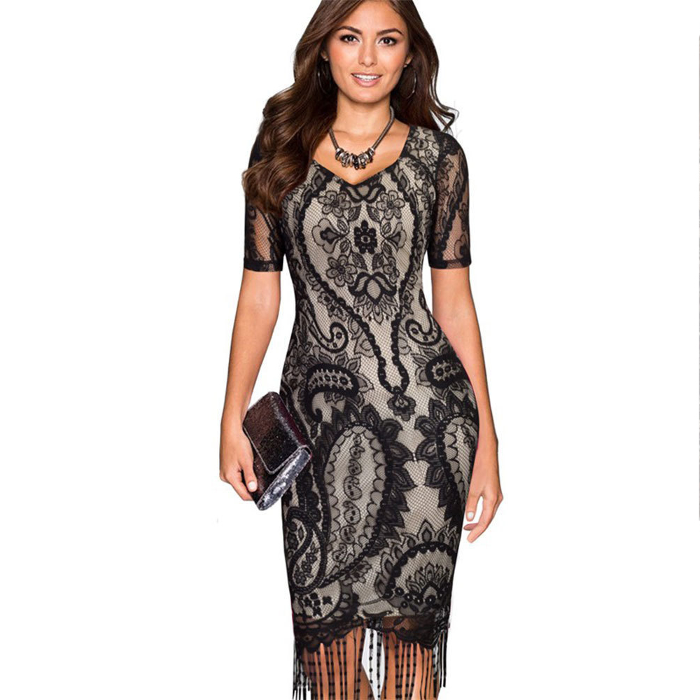 Oxiuly Womens Sexy Crochet Graphic Floral Lace Tassel Party Evening Bridemaid Mother of Bride Special Occasion Sheath Dress