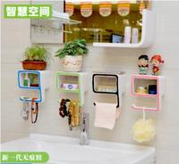 Bathroom rack wall storage box suction wall type free punch