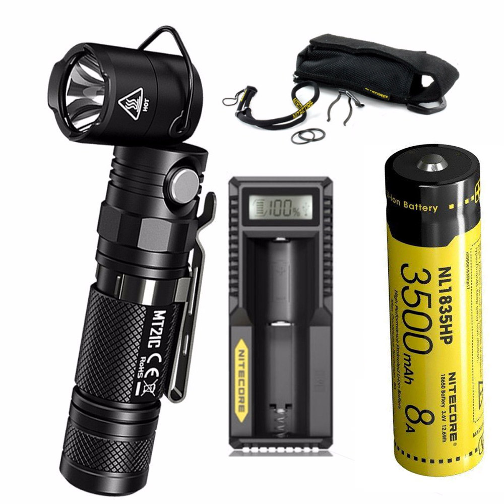NITECORE MT21C 1000LMs Multi-functional 90Degree Adjustable Flashlight Portable Diecast Torch with battery and charger nitecore nbm40 multi purpose portable battery magazine at your disposal travel kits