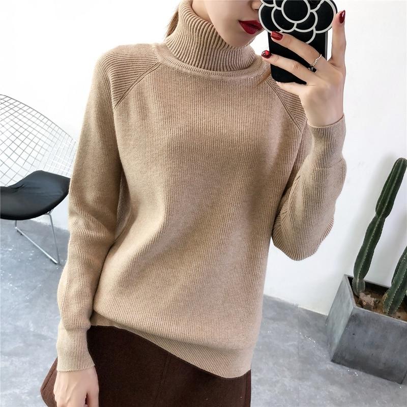 10c1f770cc ONLYSTAR Thick Turtleneck Women Pullover Sweater Autumn Winter Warm Jumper  Top Knitted Soft Female Sweater