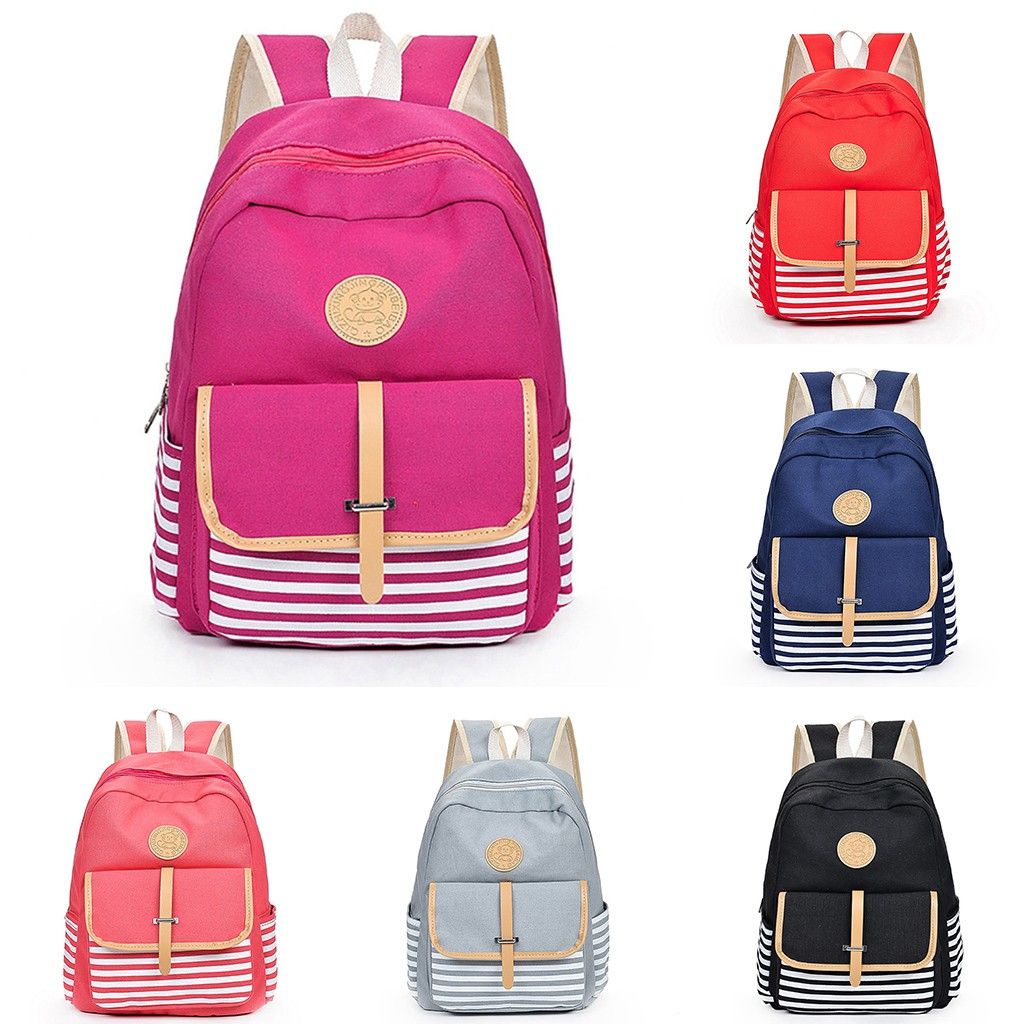 anti-theft backpack Women Girls Canvas Preppy Shoulder Bookbags School Travel Backpack Bag Preppy Style Soft  Teenage
