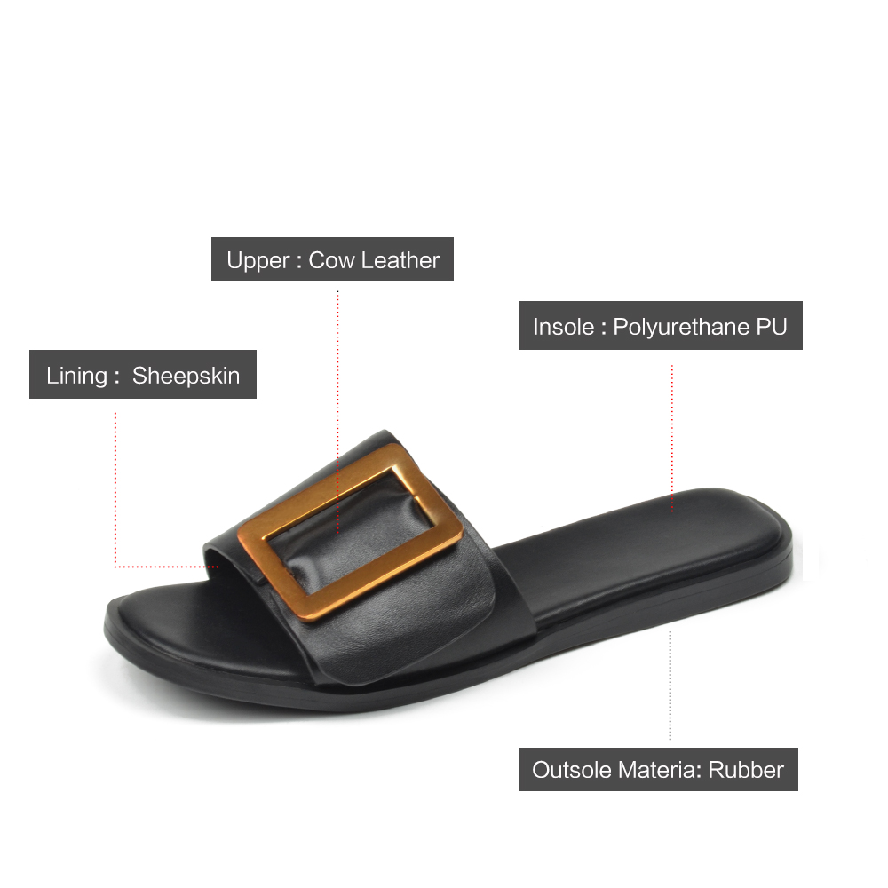 83c66a9330668 ... Leather Buckle Summer 2018 Fashion Donna Beach Slippers Slip Flat in Black  Female Sandals on Casual ...