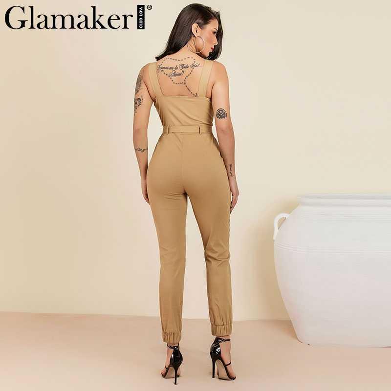 Glamaker хлопковый комбинезон женский сексуальный клубный комбинезон элегантный хаки летний Облегающий комбинезон Глубокий v-образный вырез ремень Длинный комбинезон