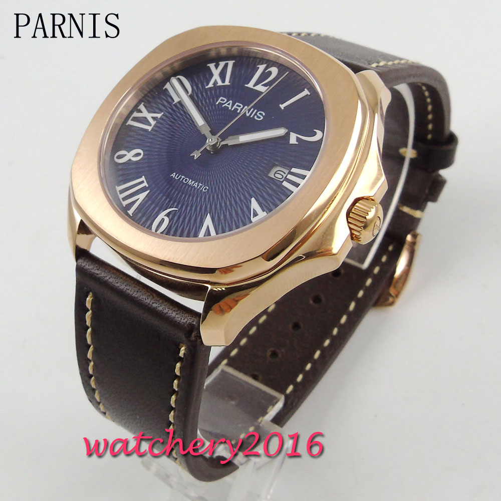 New 40mm Parnis blue dial sapphire glass luminous hands date adjust 21 jewels miyota movement Automatic