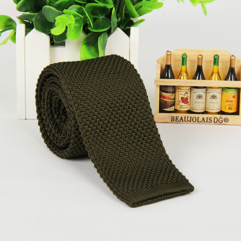 Hot Army Green Knit Tie 5.5 Cm Casual Slim Narrow Ties For Men Gentlemen Neckties Fashion  New Lot