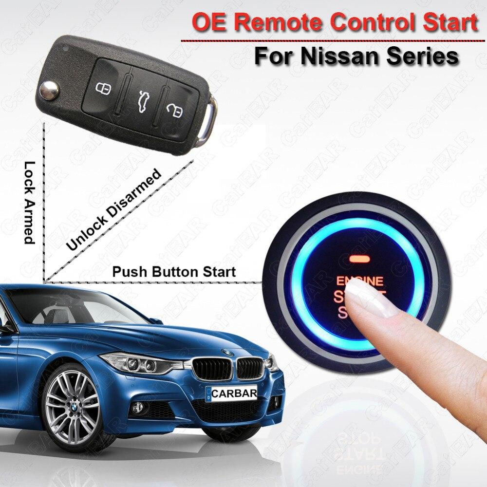 Bouton poussoir sans clé alarme de voiture de démarrage pour Nissan moteur arrêt démarrage serrure de porte déverrouillage automatique Original démarrage à distance CARBAR
