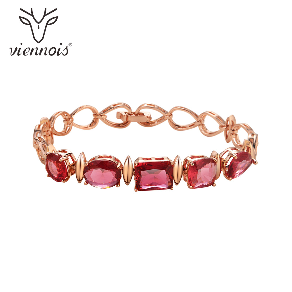 Viennois Rose Gold Color Chain Link Bracelets for Women Red/Blue Geometric Crystal Wedding Bracelet & Bangles