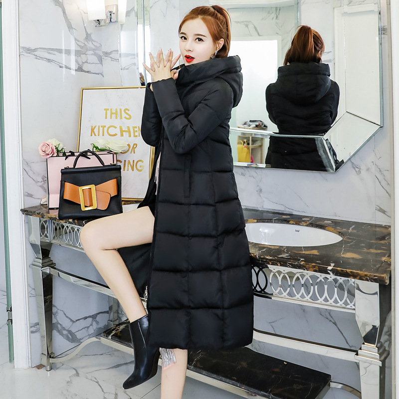 2018 Women Winter Thick Coat Female Slim X-Long Outwear Down Jacket Cotton-Padded Coat Hooded Plus Size Warm Maternity Clothes size 44 height 19cm male silicone fake foot inner bone inside toe move freely feet model shoe model f 501