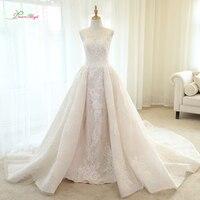 Dream Angel Vestido De Noiva Lace Mermaid Wedding Dresses 2018 Scoop Neck Detachable Train Appliques Beaded Vintage Bridal Gown