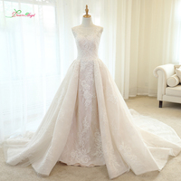 Dream Angel Vestido De Noiva Lace Mermaid Wedding Dresses 2018 Scoop Neck Detachable Train Appliques Beaded Vintage Bridal Gown