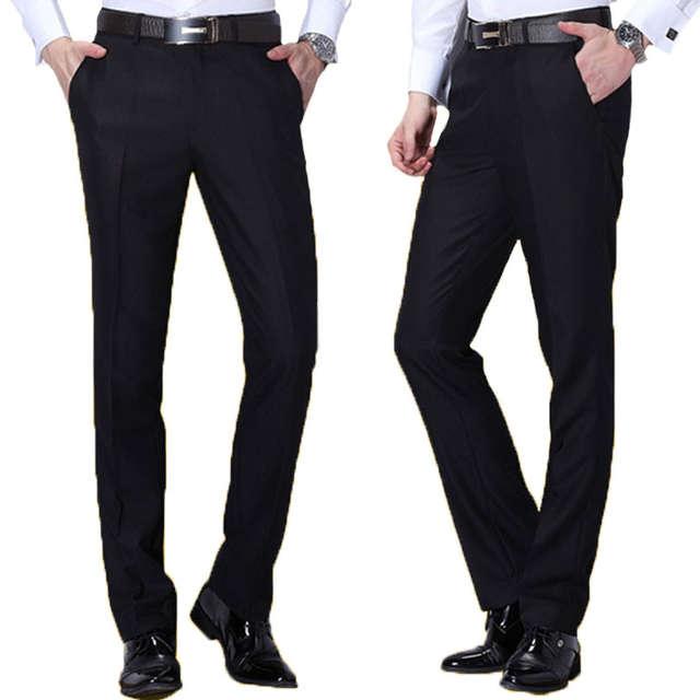 4ef9de9d3e8 Online Shop Classic Men Black Suit Pants Business Casual Slim Fit Dress  Pants Men Formal Trousers Regular Wedding Straight Four Seasons Wear