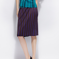 Miyake pleats pleated stripe printed matched half length skirt women's pleated elastic mid skirt free shipping