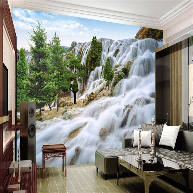 Beibehang dessin grand Rocky Mountain cascade art photo fond chambre ...