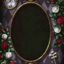 Photography Backgrounds Decor Flowers Vinyl Photo-Studio Rose Clock Oval Frame Key Laeacco