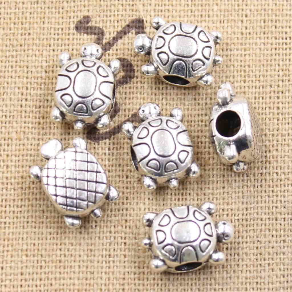 4pcs 15x10x8mm turtle tortoise 4mm Big Hole Bead Antique Silver Beads Charms Fits Diy Charms Bracelet Jewelry Beads