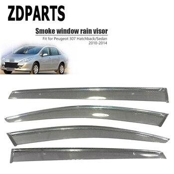 ZDPARTS 4Pieces/Set Car Wind Deflector Sun Guard Rain Wind Vent Visor Cover Trim For Peugeot 307 Hatchback/Sedan 2010-2014 ABS