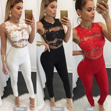 Women Strap Sleeveless Lace Chiffon Party Jumpsuit Sexy Floral Solid Sleeves Long Pant
