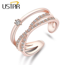 USTAR Double layer Geometric wedding Rings for women Crystals finger midi Engagement rings Jewelry Opening adjustable size gifts