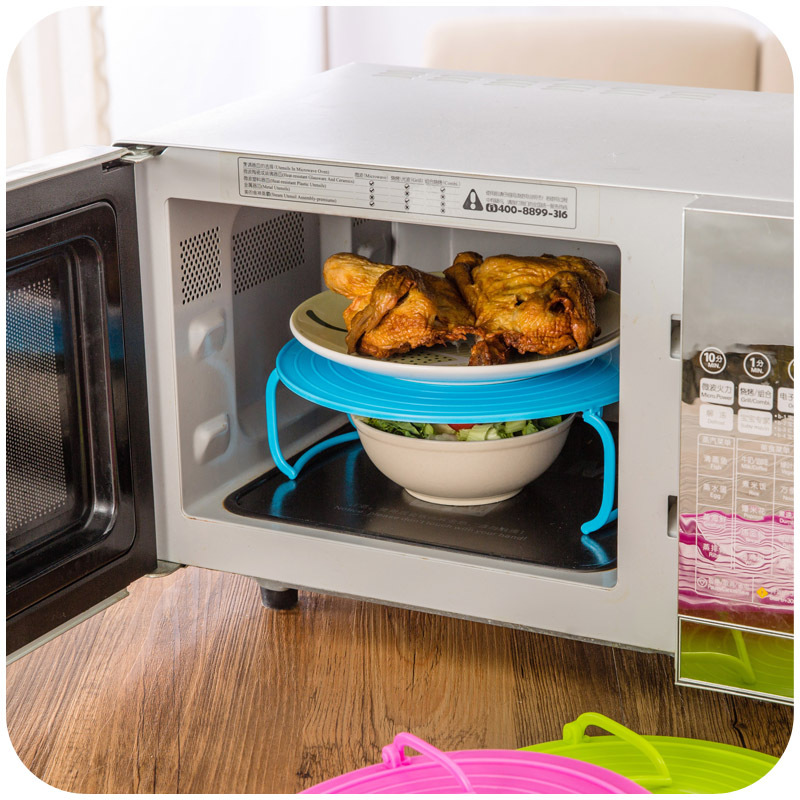 3 Colors Microwave Plastic Stand Multifunction Kitchen Plate Rack Stacker A Lid And Cooling