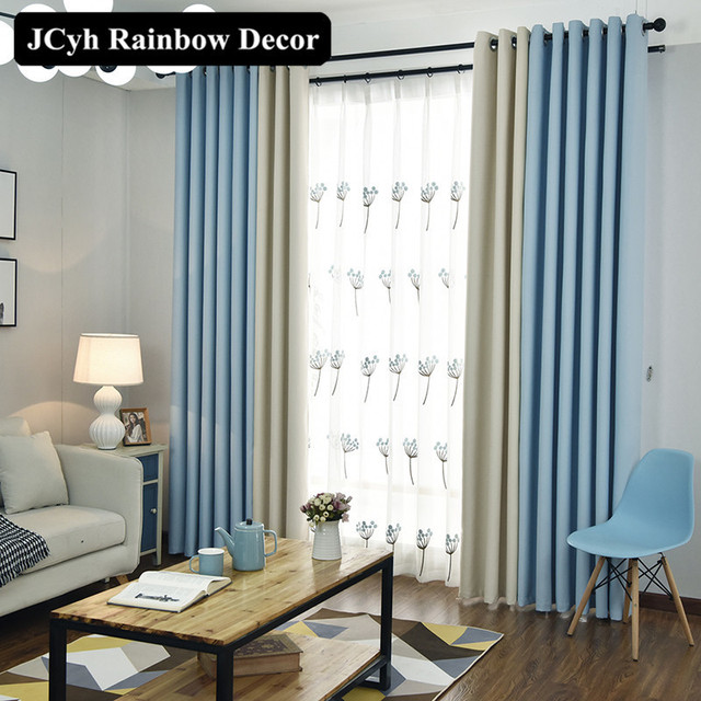 Solid Color Blackout Curtains For Living Room Bedroom Door Curtain Full  Shade Window Cortinas Panel Drapes