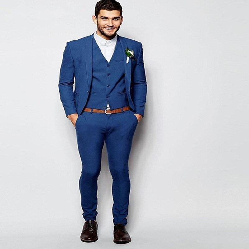 2017 Fashion Royal Blue Tuxedos For Men Elegant Men Suit Daily Work Wear Blazer Prom Party Suits Custom (Jacket+Pants+Vest+Tie)